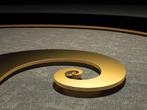 Golden Fibonacci-Spirale Hell beleuchtet – Foto