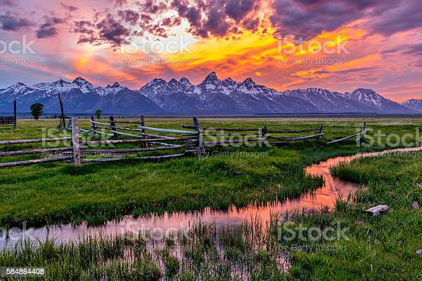 Photo of Golden Fiery Sunset at Grand Teton