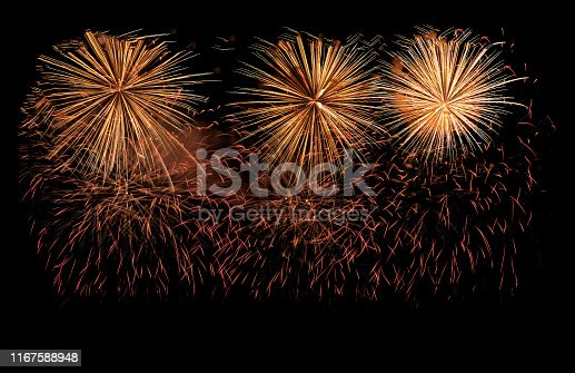 Golden fireworks explosion in annual festival. isolated on background