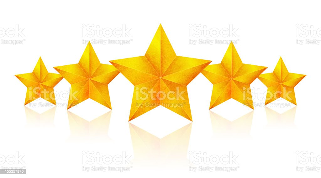 Golden Five Stars (Clipping Path!) isolated on white background stock photo