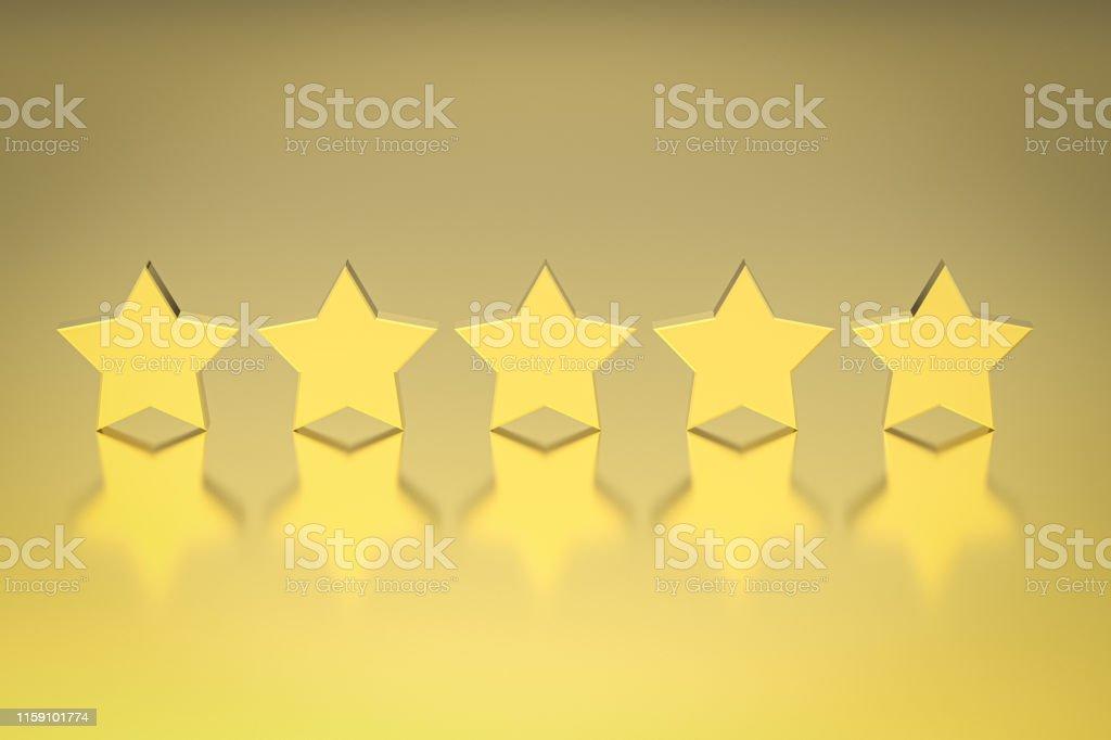 3d rendering golden five stars on gold background