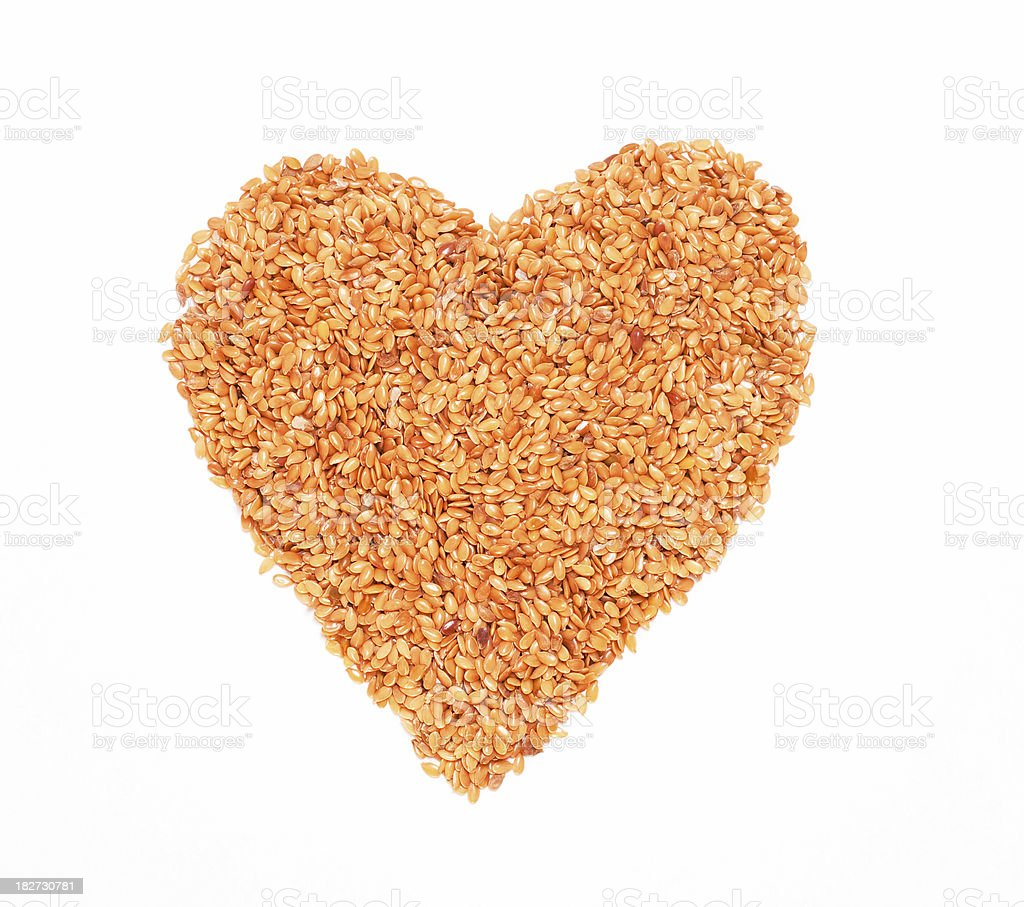 Golden Flax Seed Heart royalty-free stock photo