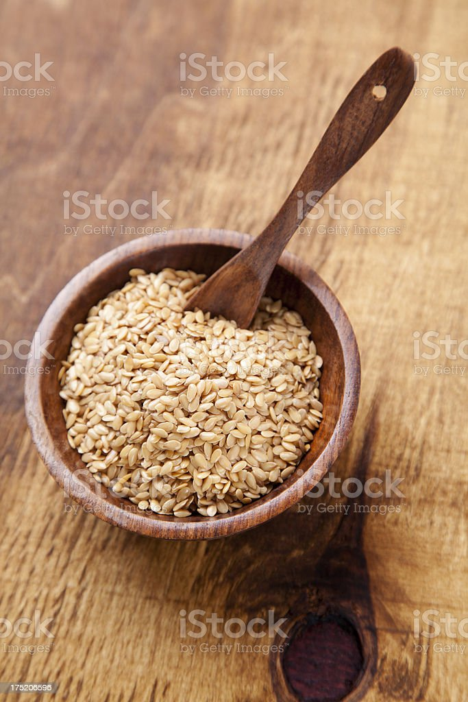 Golden flax seed royalty-free stock photo