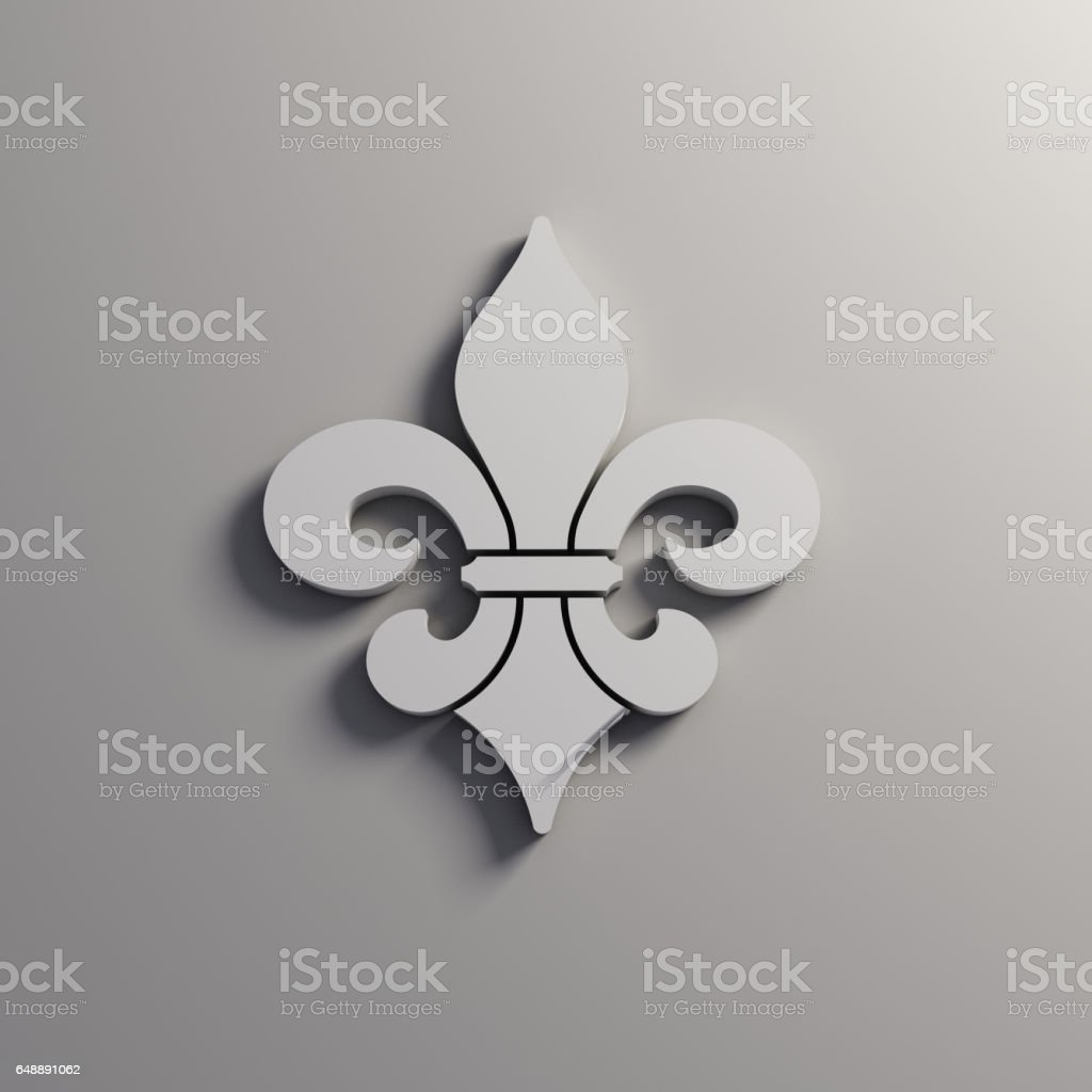 Golden Fleur-de-Lis Decorative Design. 3D Rendering Illustration vector art illustration
