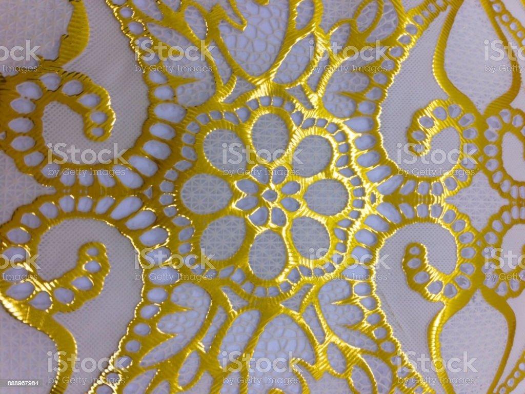 Golden Flower Pattern Photo On White Background Stock Photo & More