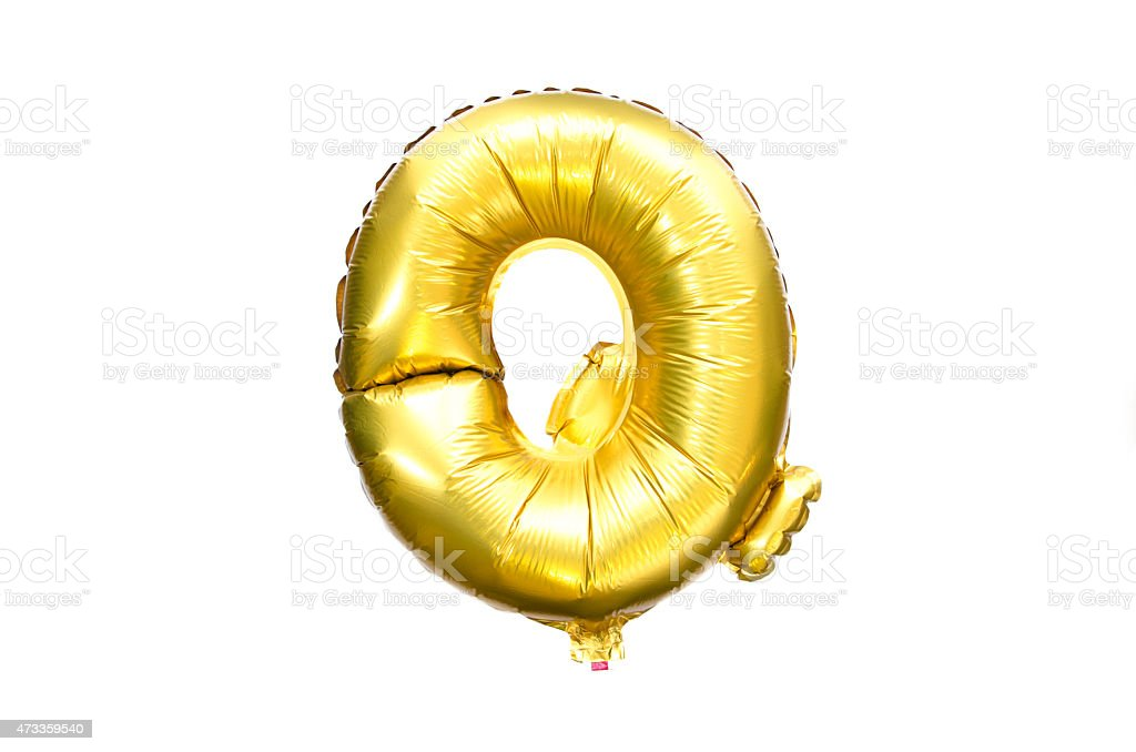 Golden Foil Ballon Alphabet Letter Q stock photo