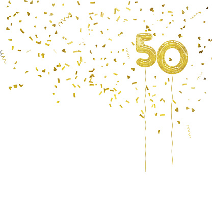 istock Golden foil balloon numbers, with gold confetti. White background. 819687396
