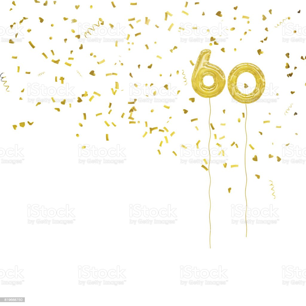 Golden foil balloon numbers, with gold confetti. White background. stock photo