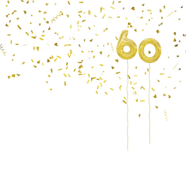 Golden foil balloon numbers, with gold confetti. White background. Ideal 60th birthday or anniversary. 60 64 years stock pictures, royalty-free photos & images