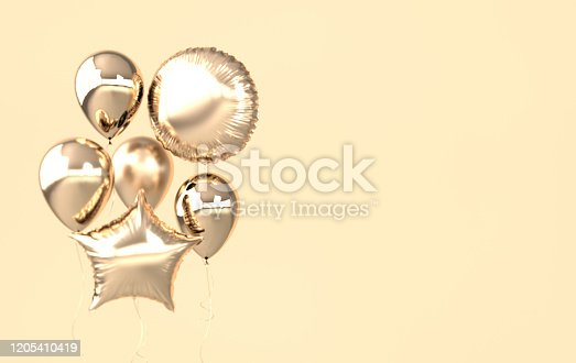 istock Golden foil balloons isolated on beige background. 3d render element for birthday party, Valentine`s day, presentation. Sphere and star shape 1205410419