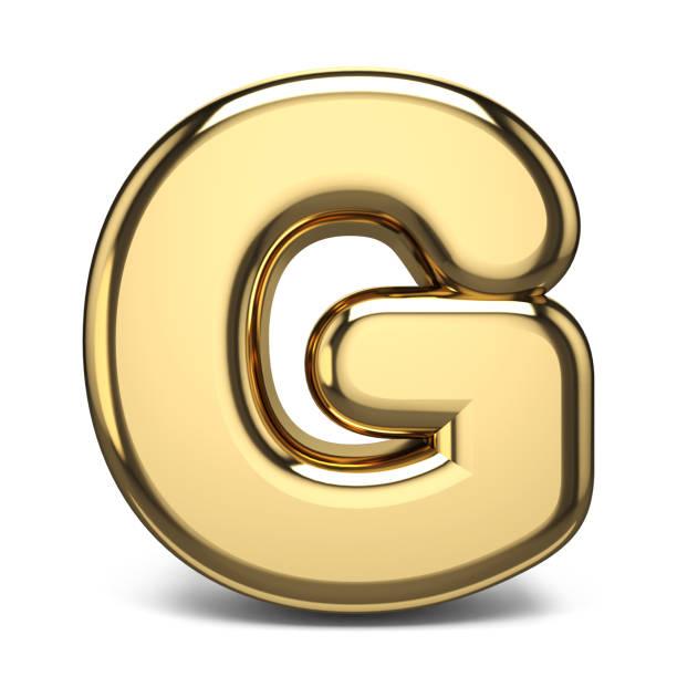 Golden font letter G 3D stock photo
