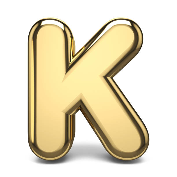 Golden font letter K 3D Golden font letter K 3D render illustration isolated on white background k icon stock pictures, royalty-free photos & images