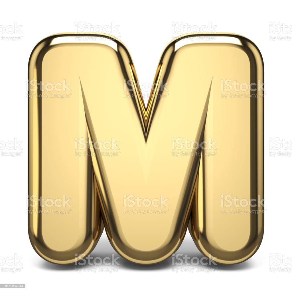 Golden font letter M 3D stock photo