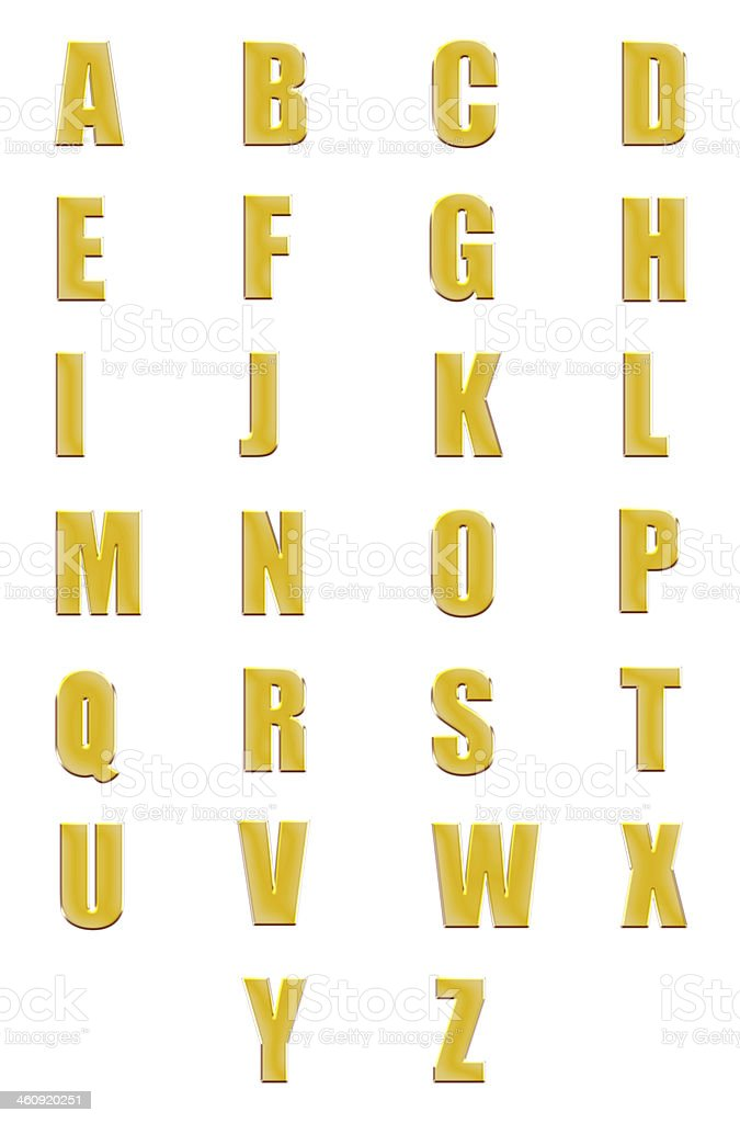 golden fonts set or collection isolated stock photo