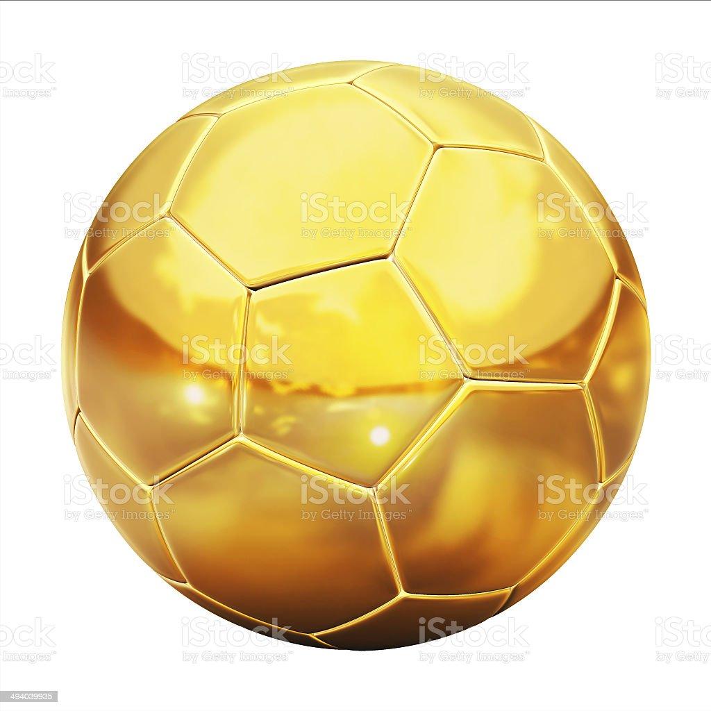 Bola de futebol dourada (futebol) no fundo ilustração 3d refletivos - foto de acervo