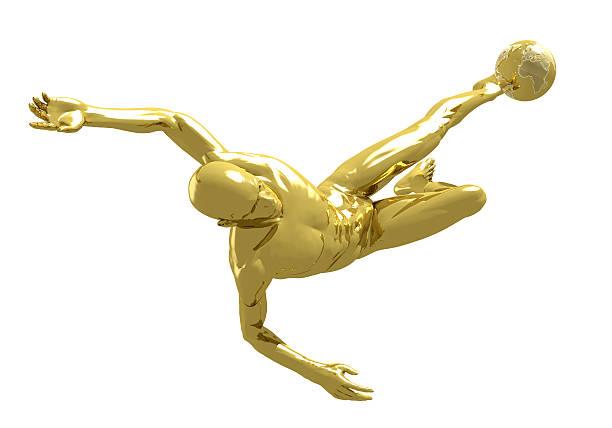 Golden Footballer and World stock photo