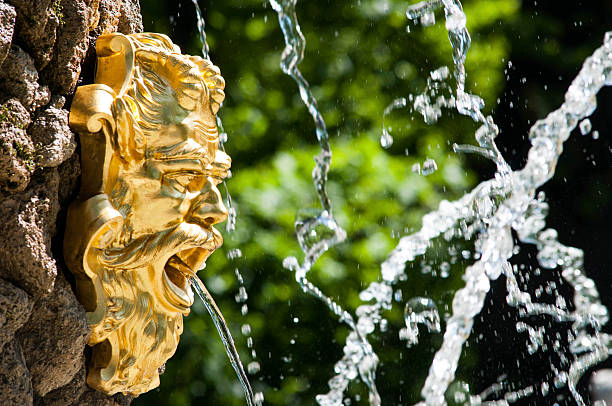 Golden fountain Gesicht des Neptune in the park – Foto