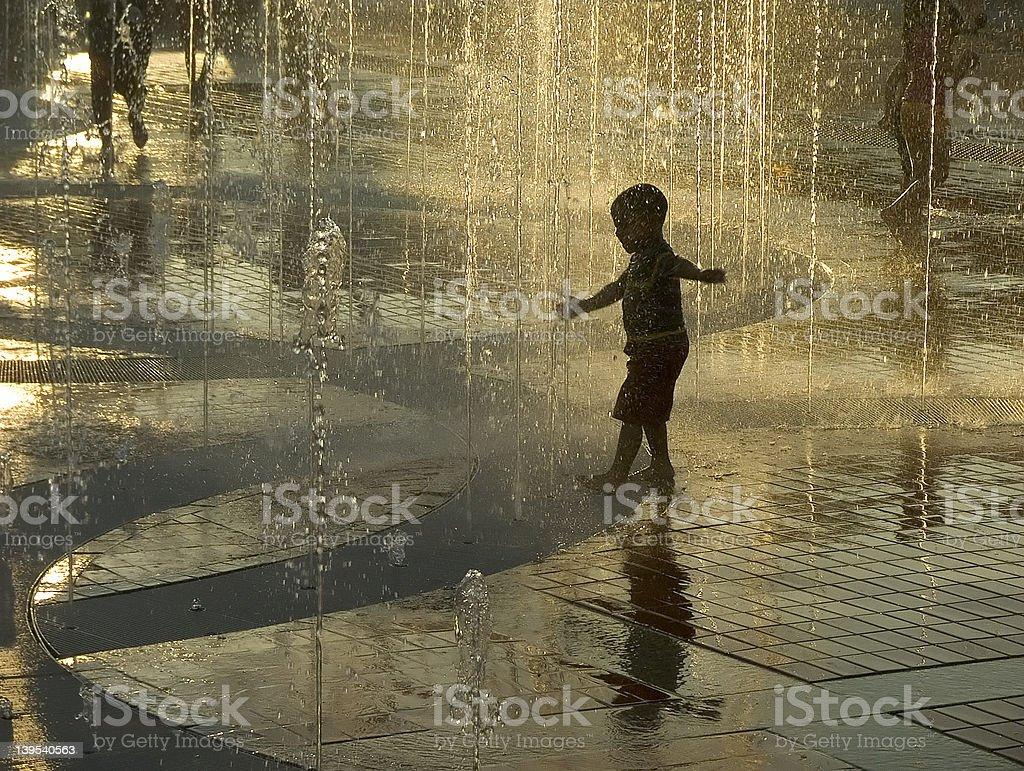 golden fountain stock photo