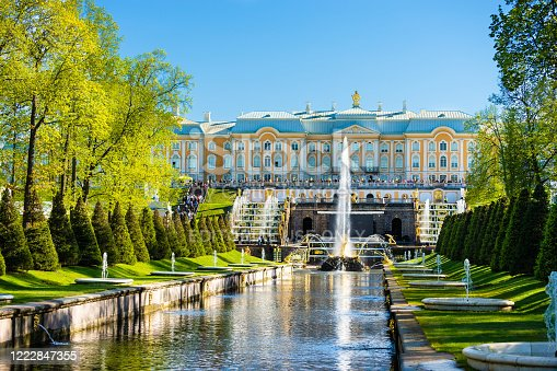 Saint Petersburg, Russia - May 18, 2019: Golden fountains of Peter's Palace, Saint Petersburg, Russia