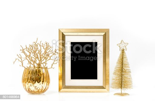 istock Golden frame and Christmas ornaments. Vintage style mock up 501466954