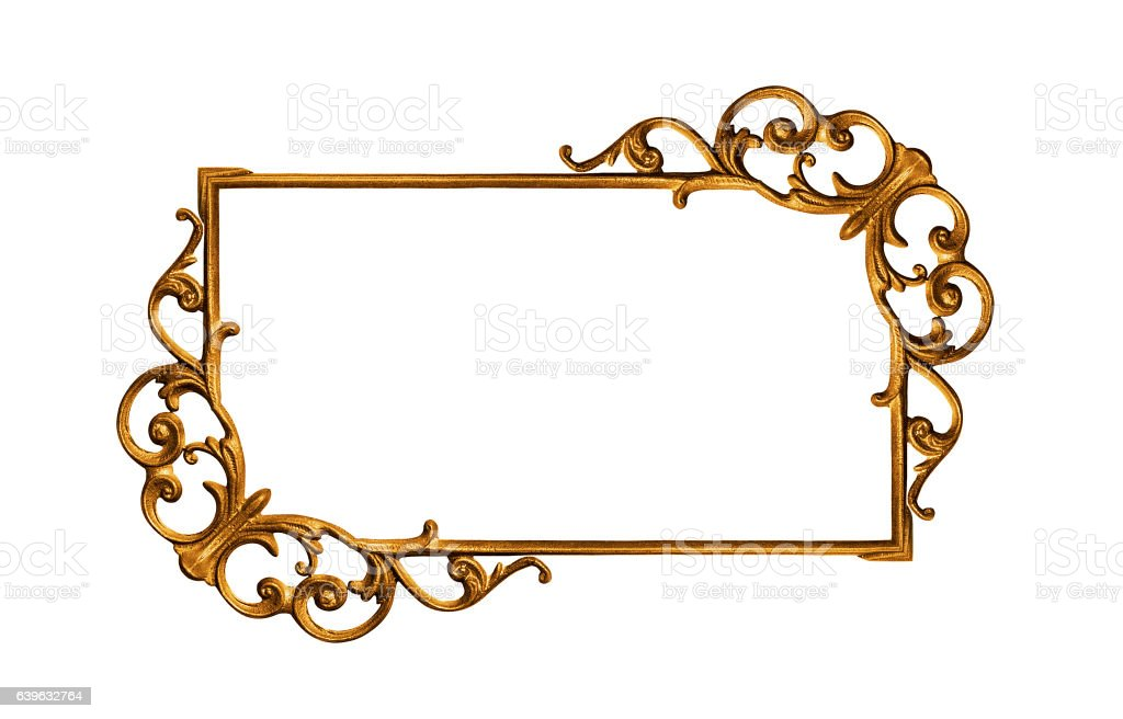 Golden frame isolated on white stock photo