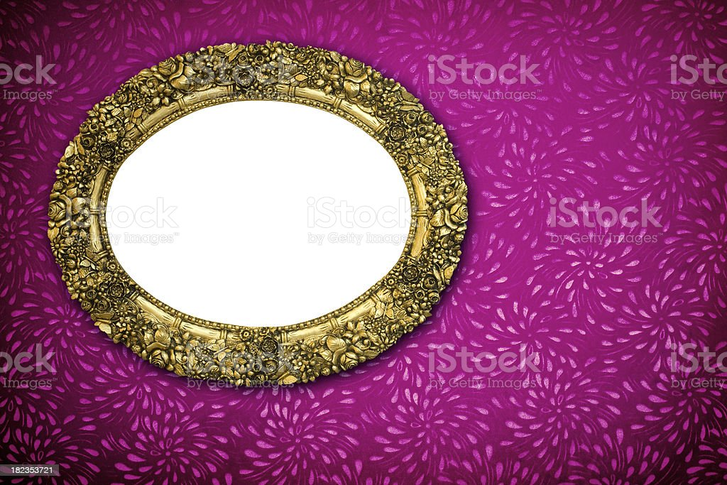 Golden frame on a wall stock photo