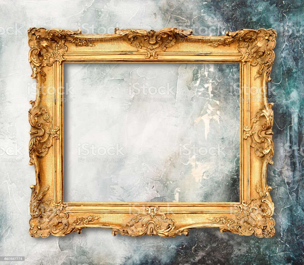 Golden frame on grungy background Stone texture stock photo