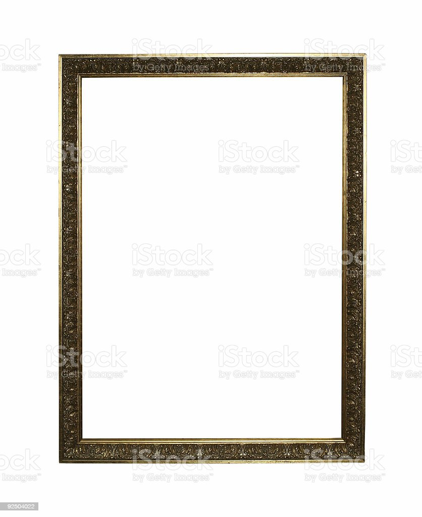 Golden frame with clipping path royalty-free stock photo