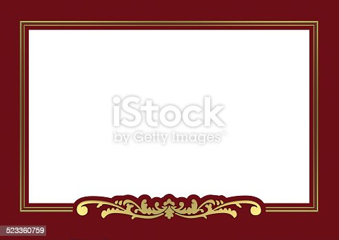 vintage golden frame background with copy space