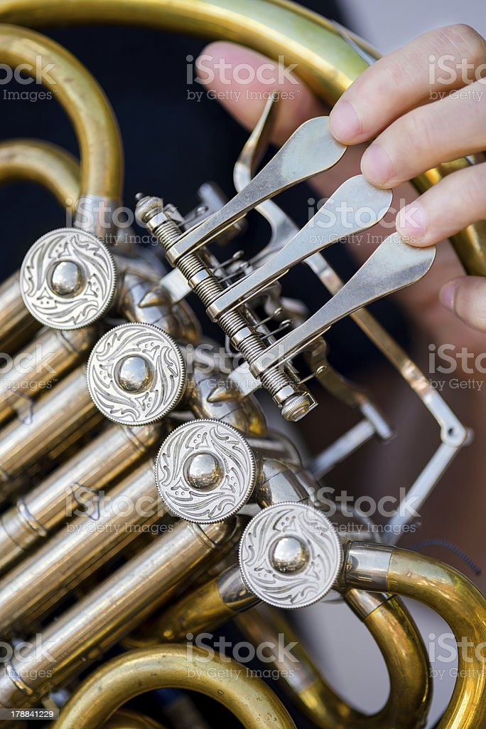 Golden french horn royalty-free stock photo