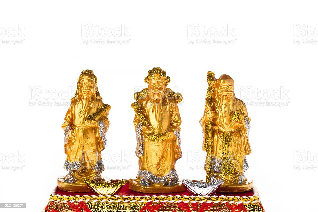 Golden Fu Lu Shou for good luck and wealhty stock photo