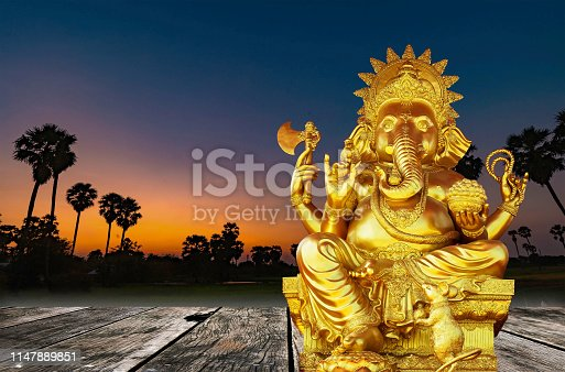 Golden Ganesha separated from the background