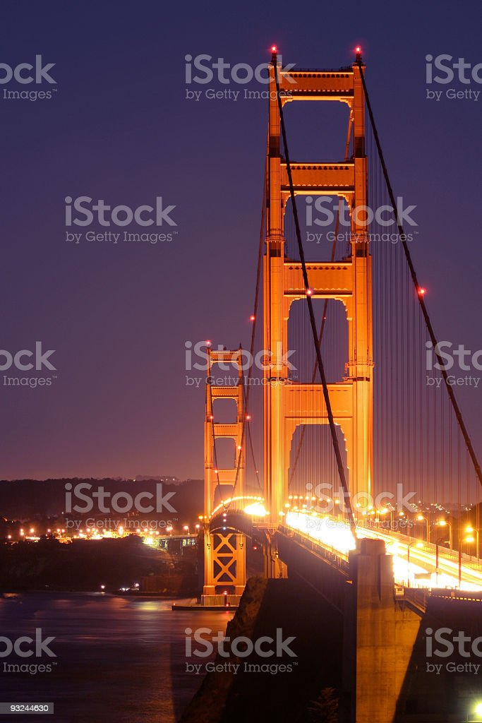 Golden Gate at night royalty-free stock photo