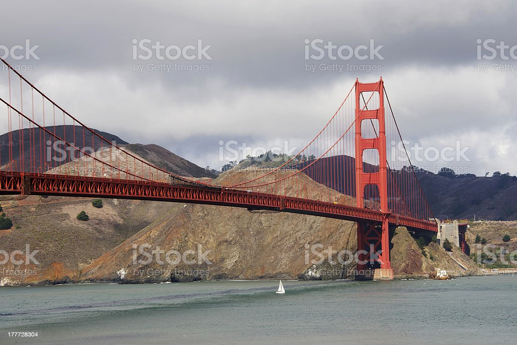 Golden Gate Bridge across the Bay in San Francisco royalty-free stock photo