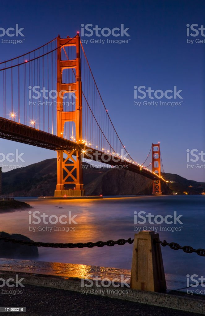 Golden Gate Bridge after Sunset royalty-free stock photo
