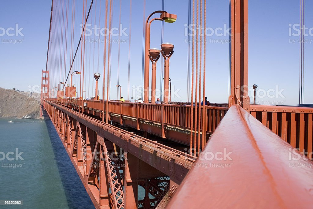 Golden Gate Bridge and bicycle commuters royalty-free stock photo