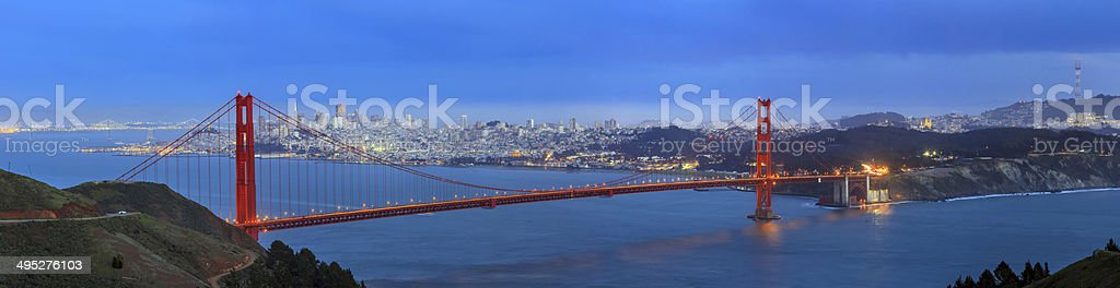 Golden Gate Bridge and downtown San Francisco stock photo