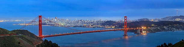 Golden Gate Bridge and downtown San Francisco Golden Gate Bridge and downtown San Francisco at twilight golden gate bridge stock pictures, royalty-free photos & images