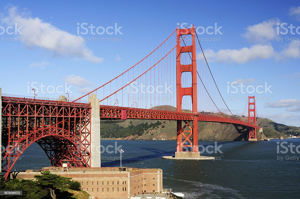 Golden Gate Bridge and Fort Point in the morning stock photo