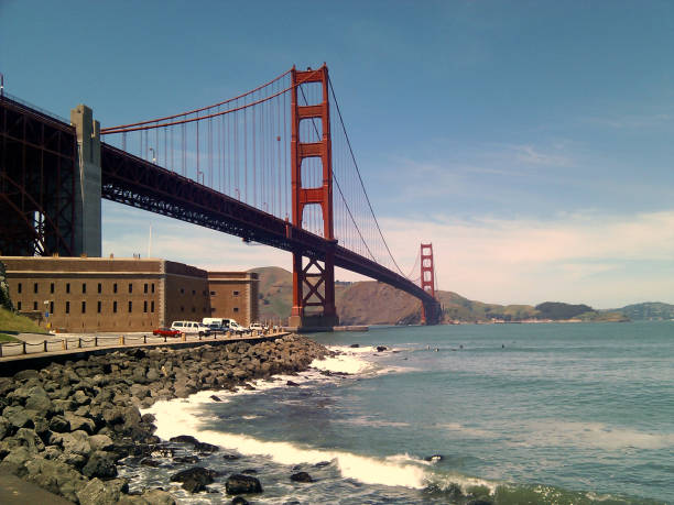 Golden Gate Bridge and Fort Point National Historic Site stock photo