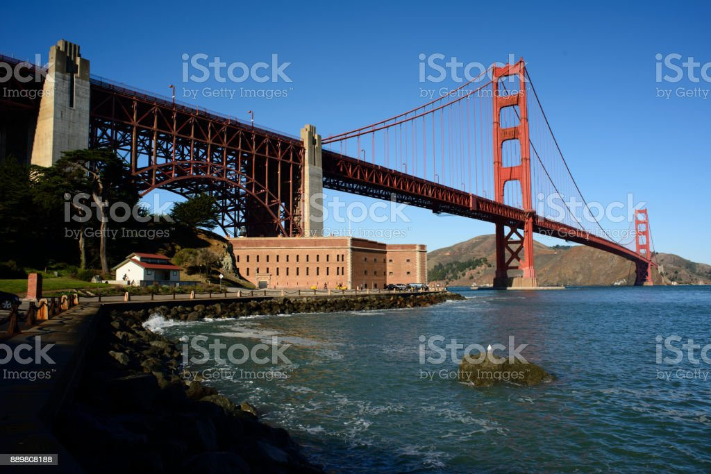 Golden Gate Bridge and Fort Point stock photo