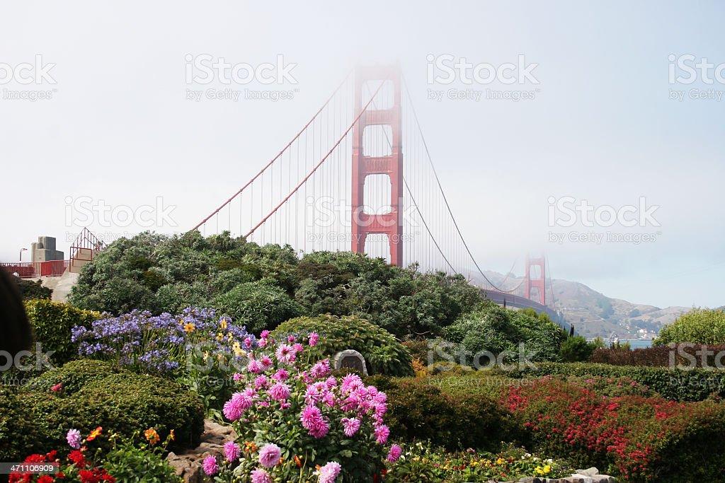 Golden Gate Bridge and garden flowers royalty-free stock photo