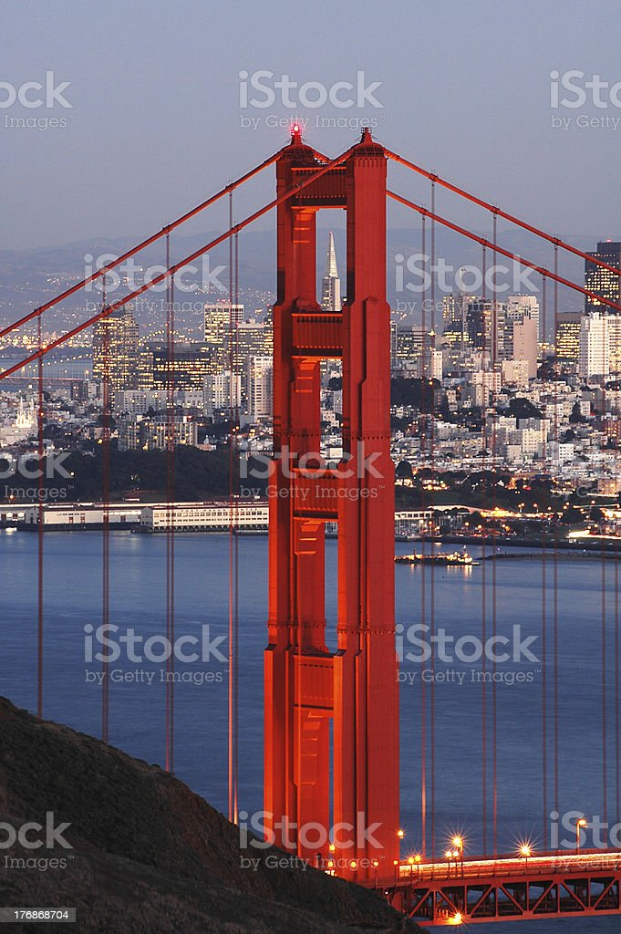 Golden Gate Bridge and San Francisco at dusk stock photo