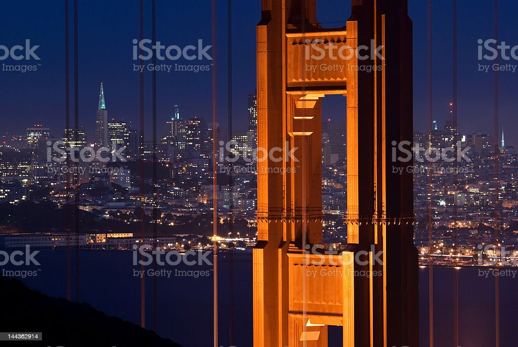 Golden Gate Bridge and San Francisco at night royalty-free stock photo