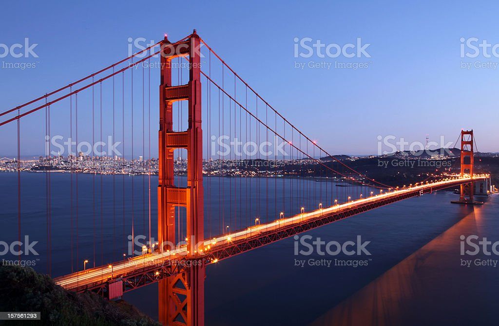 Golden Gate Bridge and San Francisco Skyline at Dusk royalty-free stock photo