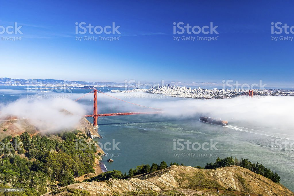 Golden Gate Bridge and San Francisco throught the fog royalty-free stock photo
