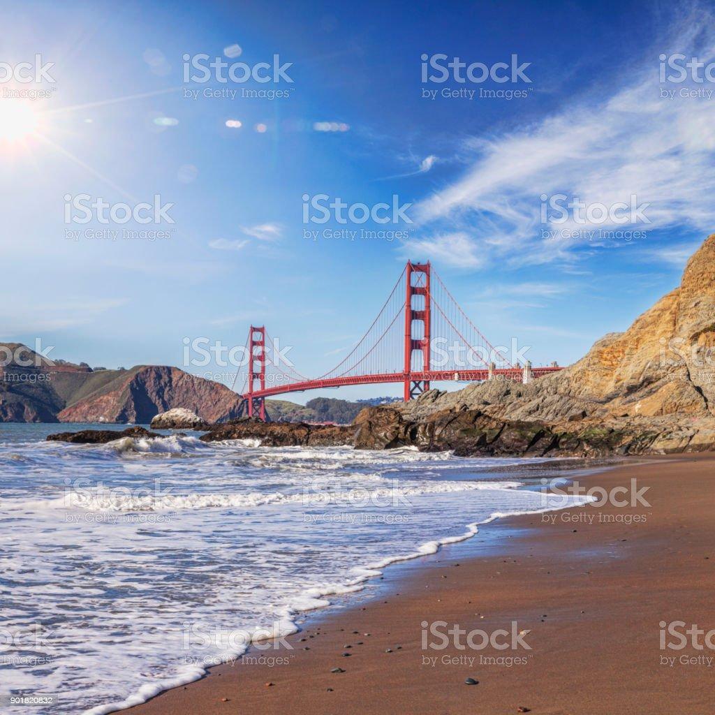 Golden Gate Bridge and Sun Flare San Francisco stock photo