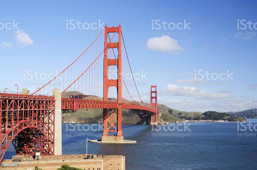 Golden Gate Bridge and the roof of Fort Point royalty-free stock photo