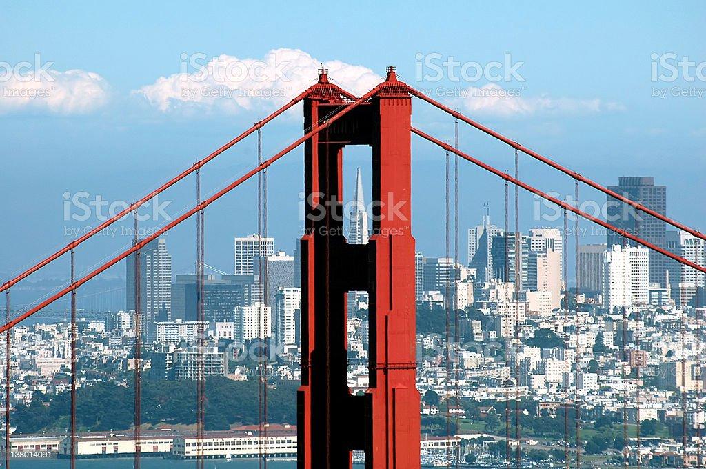 Golden Gate Bridge and Transamerica Building royalty-free stock photo