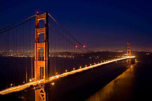Golden Gate Bridge at dusk, Panoramic San Francisco stock photo